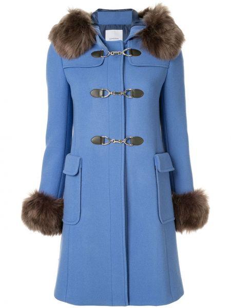 Синее длинное пальто с капюшоном на крючках Loveless