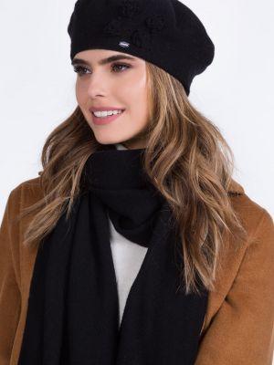 Czarny beret wełniany Kamea