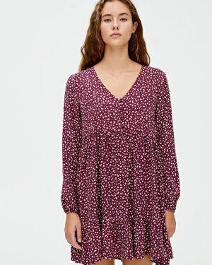 Платье бордовый индийский Pull&bear