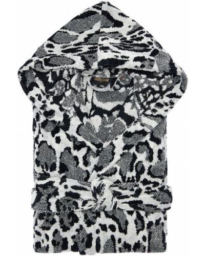 Czarny szlafrok bawełniany z printem Roberto Cavalli