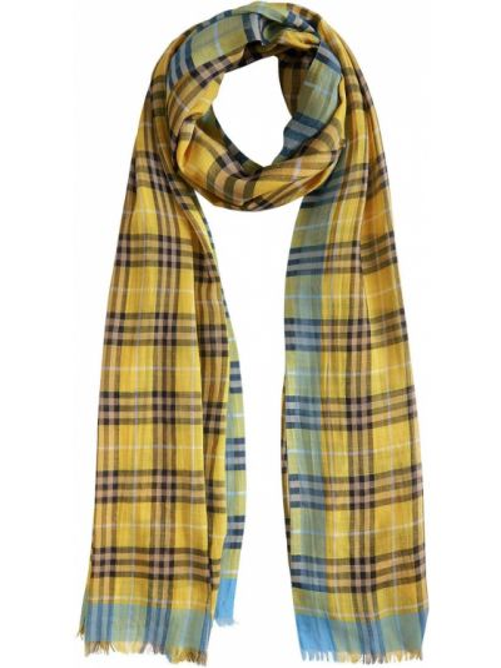 Światło wełniany żółty szalik Burberry