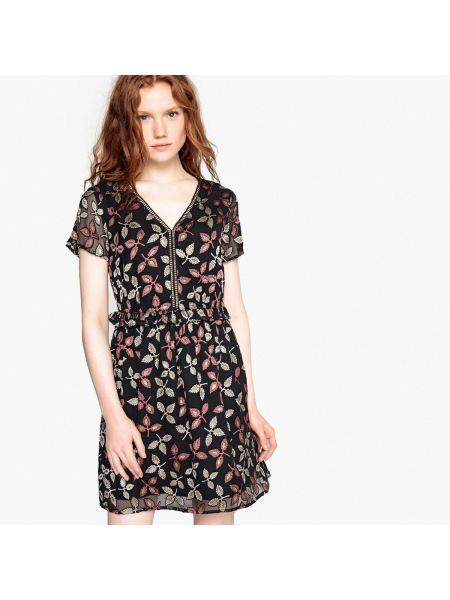 Платье мини с цветочным принтом с V-образным вырезом La Redoute Collections