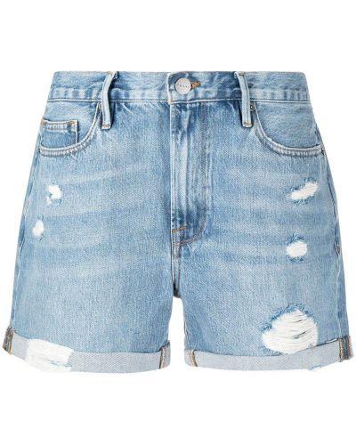Синие хлопковые джинсовые шорты с отворотом Frame