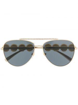 Золотистые желтые солнцезащитные очки металлические Versace Eyewear