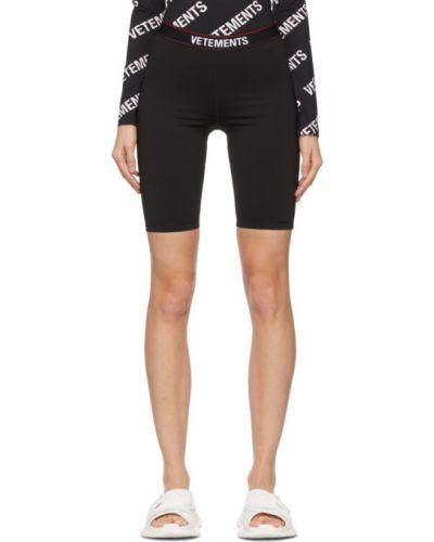 Трикотажные черные спортивные шорты стрейч Vetements