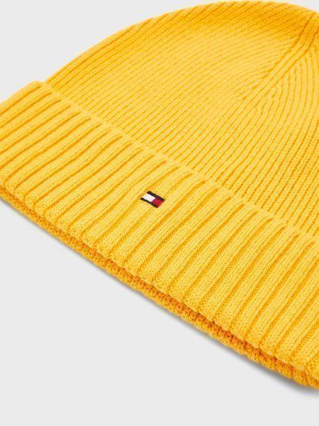 Хлопковая желтая шапка с отворотом Tommy Hilfiger