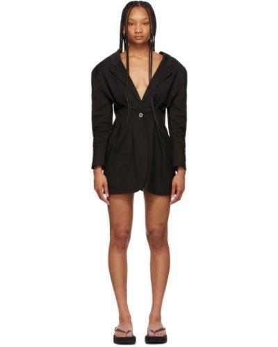 Черный удлиненный пиджак с подкладкой с воротником Jacquemus