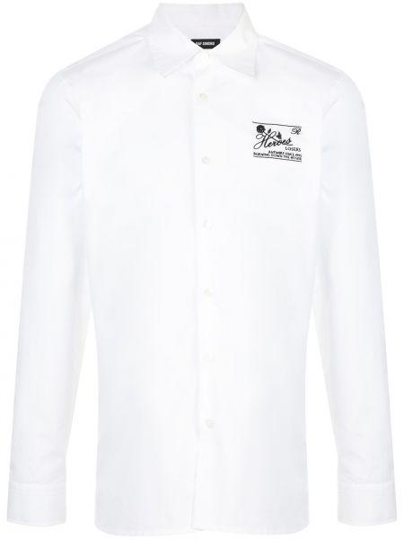 Koszula z długim rękawem z logo prosto Raf Simons