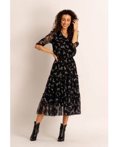 Czarna sukienka midi z szyfonu Angell