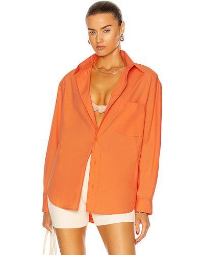 Оранжевая хлопковая рубашка с карманами Matteau