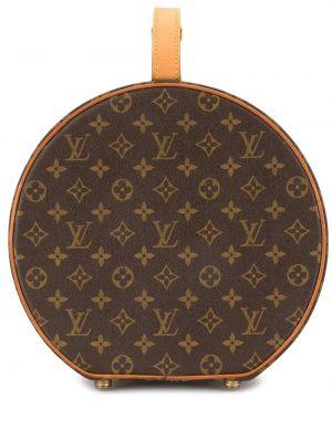 Brązowy kapelusz skórzany Louis Vuitton