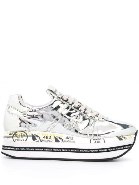 Кожаные кроссовки на платформе серебряный Premiata