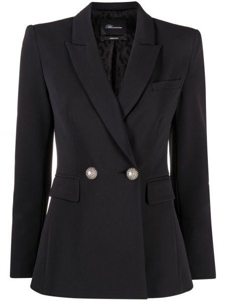 Черный классический пиджак двубортный с карманами Blumarine