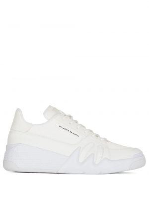 Biały włókienniczy sneakersy perforowany z łatami Giuseppe Zanotti