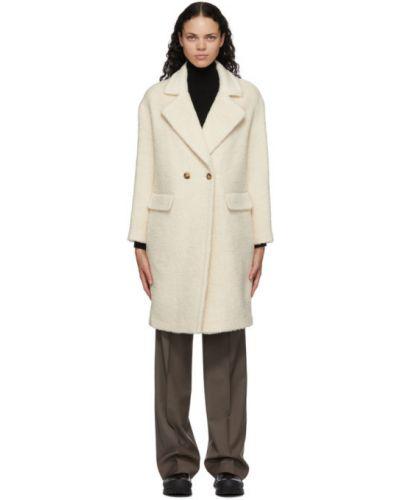Белое кожаное длинное пальто двубортное Mackage