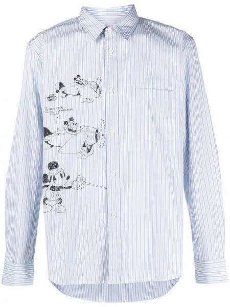 Niebieska klasyczna koszula bawełniana w paski Comme Des Garcons Homme Deux