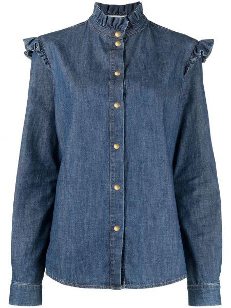Синяя с рукавами джинсовая рубашка с высоким воротником Philosophy Di Lorenzo Serafini