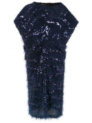 Синее платье миди с пайетками с вырезом с короткими рукавами Gloria Coelho