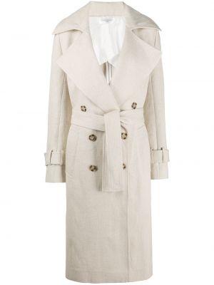 Шелковое бежевое пальто с лацканами с карманами Victoria Beckham
