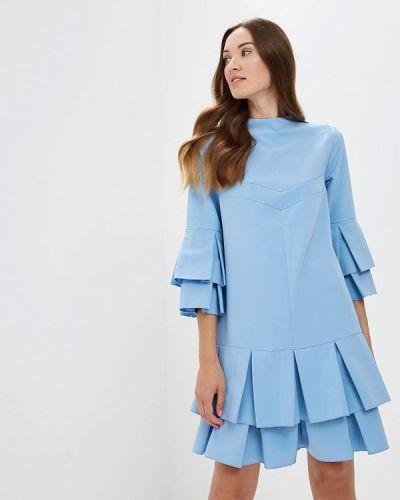 Прямое платье - голубое Ricamare