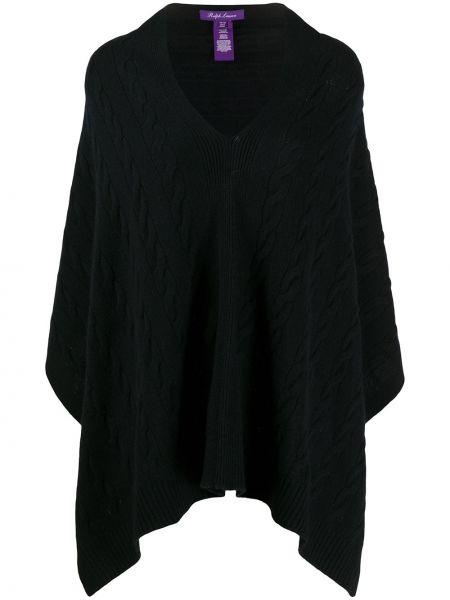Кашемировое черное пончо с V-образным вырезом Ralph Lauren