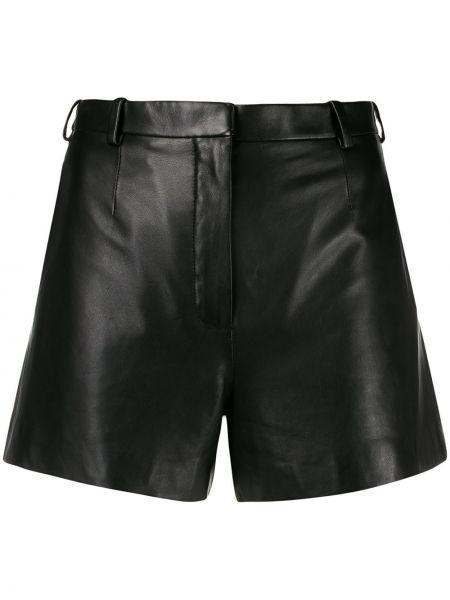 Черные кожаные шорты с карманами Lanvin