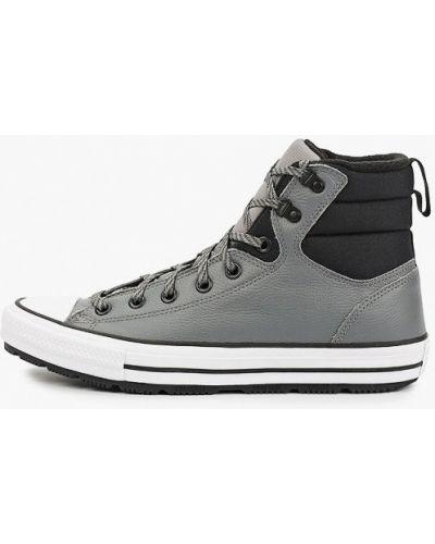 Кожаные высокие кеды - серые Converse