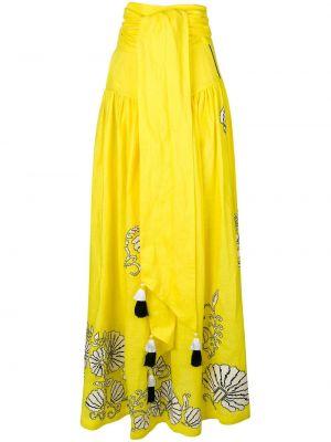 Желтая ажурная льняная юбка макси с вышивкой Yuliya Magdych