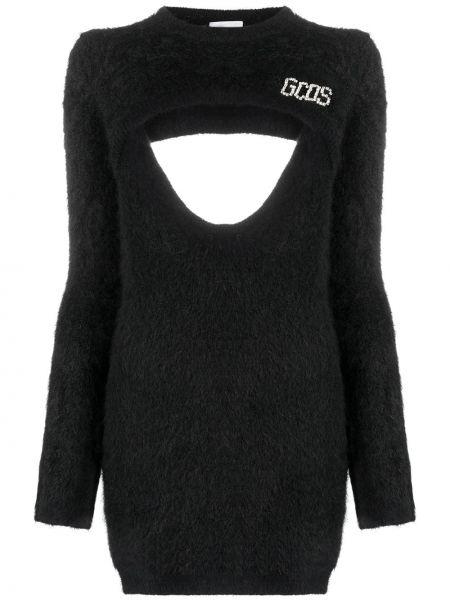 Шерстяное с рукавами черное платье макси Gcds