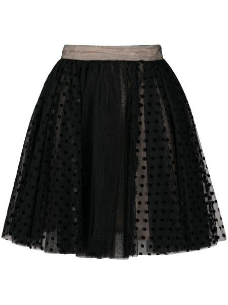 Czarna spódnica tiulowa w grochy Brognano