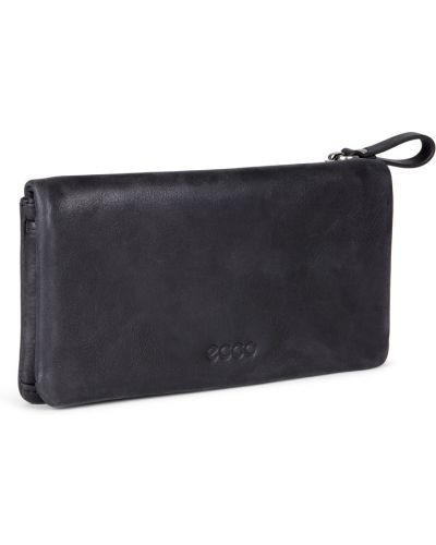 Кожаный кошелек на молнии черный Ecco