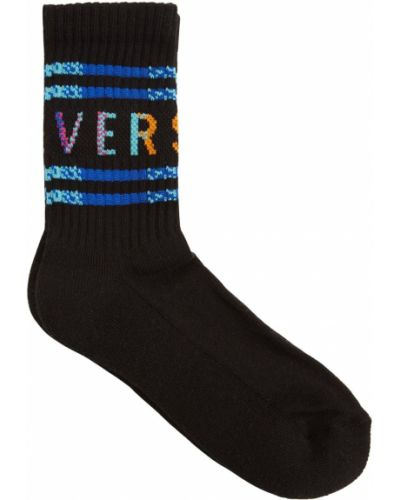 Хлопковые черные носки с манжетами Versace