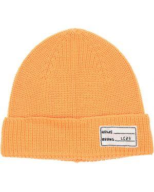 Prążkowany pomarańczowy czapka beanie wełniany Lc23