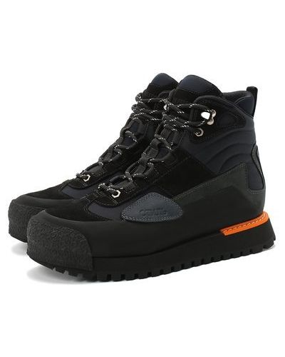 Комбинированные черные кожаные ботинки Heron Preston