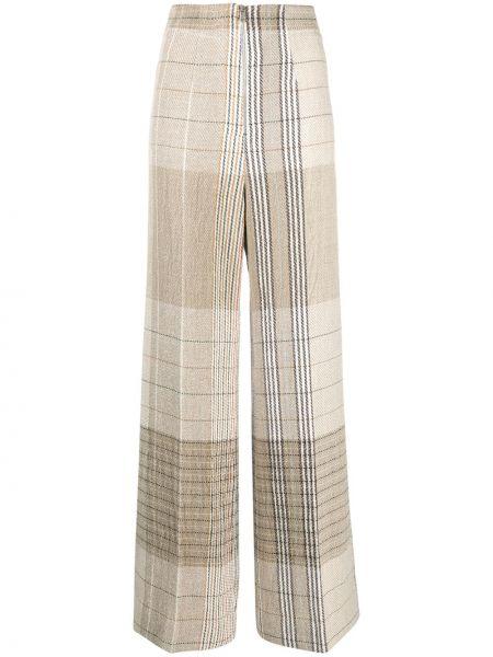 Бежевые льняные свободные брюки с карманами свободного кроя Mrz