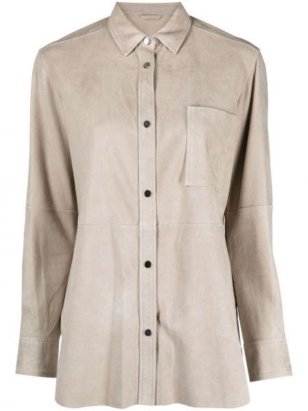 Beżowa klasyczna koszula z długimi rękawami skórzana Antonelli