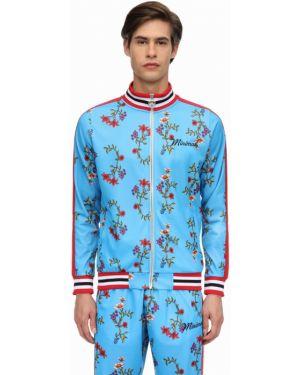 Niebieska kurtka z haftem w paski Minimal