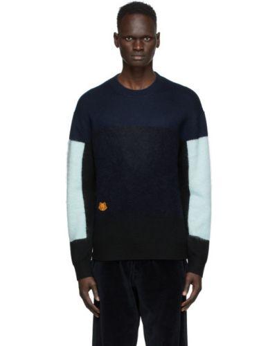 Światło niebieski sweter z moheru z kołnierzem Kenzo