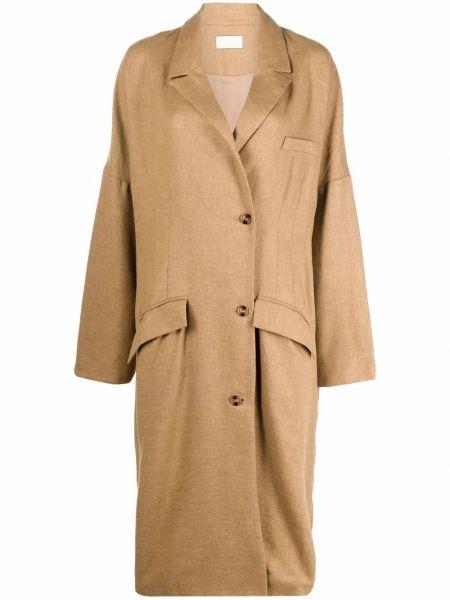 Коричневое пальто из полиэстера Mes Demoiselles