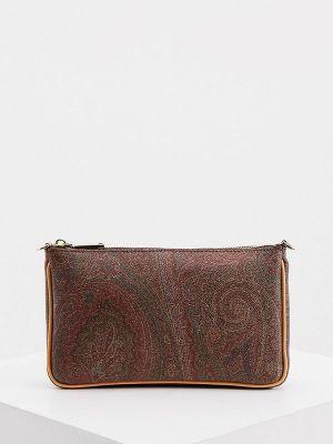 Кожаная коричневая сумка Etro