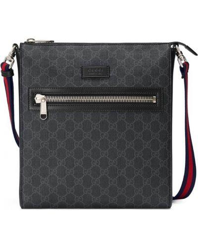 Кожаная сумка на молнии нейлоновая Gucci