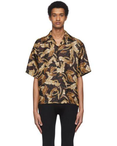Koszula krótkie z krótkim rękawem jedwab z kołnierzem Cmmn Swdn