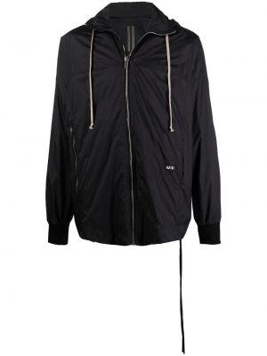 Czarna długa kurtka z kapturem bawełniana Rick Owens
