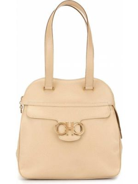 Золотистая коричневая кожаная сумка на молнии с карманами Salvatore Ferragamo Pre-owned