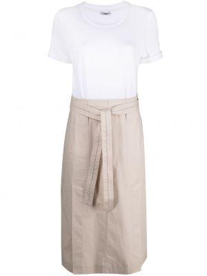Хлопковое белое платье миди с короткими рукавами Peserico