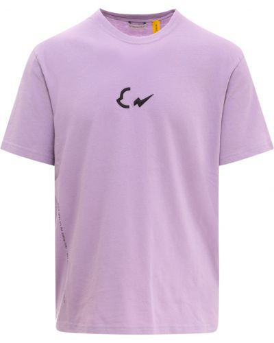 T-shirt bawełniana - fioletowa Moncler
