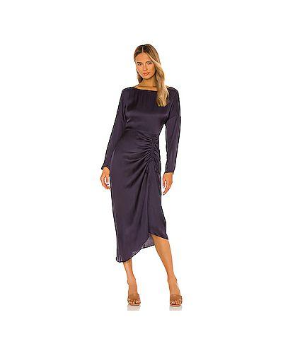 Синее шелковое платье миди на молнии со складками L'academie