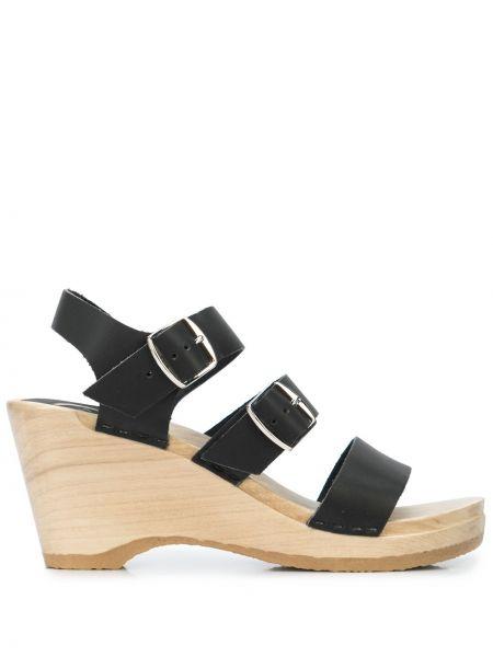 Открытые кожаные черные сандалии с открытым носком No.6