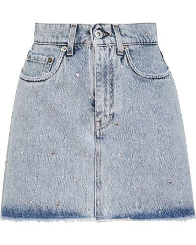 Хлопковая юбка мини трапеция с карманами со стразами Miu Miu