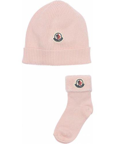 Bawełna bawełna różowy kapelusz z łatami Moncler